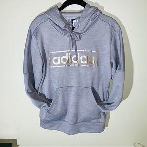 adidas gray and metallic gold linear logo hoodie